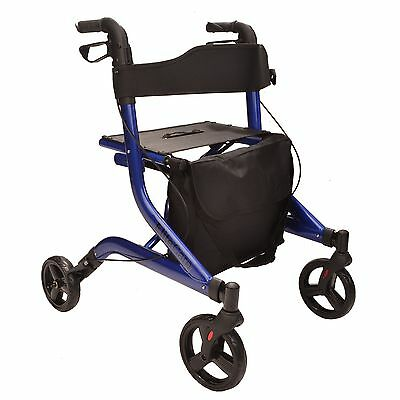 Lightweight folding 4 wheel rollator walking frame with seat and bag