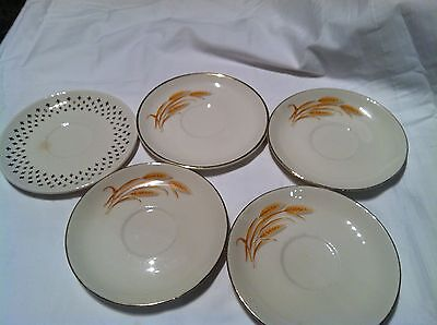MIXED LOT OF 5 VINTAGE GOLDEN WHEAT CHINA  22K GOLD TRIM HOMER LAUGHLIN  SAUCERS