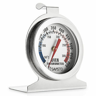 Savisto Stainless Steel Oven Thermometer Temperature Gauge for Pizza AGA Cooker