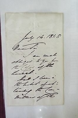 Anthony Ashley-Cooper Handwritten Letter - 1868