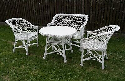 Garden Furniture Set Chairs Sofa Table Outdoor Patio Conservatory Wicker White
