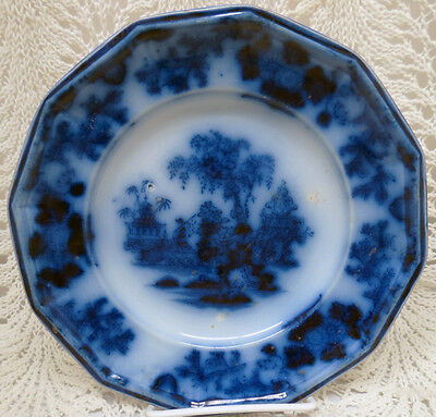 """Early Flow Blue John And George Alcock Scinde 7 1/2"""" Plate"""