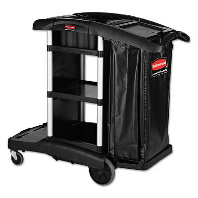 Rubbermaid Commercial Executive High Security Janitorial Cleaning Cart, Black...