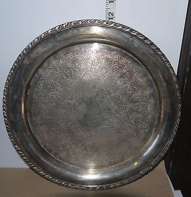 "Silver or Silver Plated 12"" Round Platter w/Ornate Etching & Braided Rim NICE"