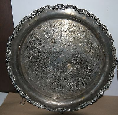 "Silver or Silver Plated 12"" Round Platter w/Ornate Scroll Design Etching & Rim"
