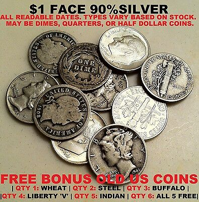 $1 ($1.00) ONE DOLLAR FACE VALUE US JUNK 90% SILVER + FREE BONUS OLD USA COIN(S)