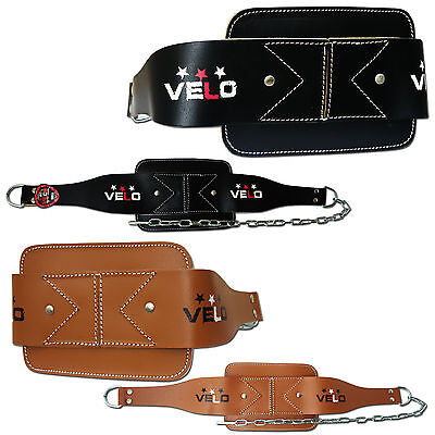 VELO Leather Dipping Belt Dip Weight Lifting Tricep Body Building with Chain Pro