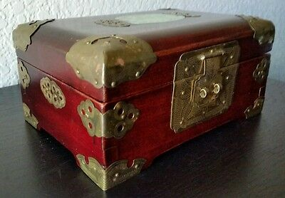 Nice Vintage Oriental Wooden Music Jewerly Box With Brass Fixtures & Jade Inlay