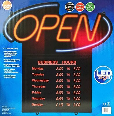 PDT LED Open Sign with Opening & Closing Times Shop Display / Business Hours