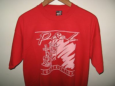 P & L Construction Tee - Vintage 1980's Building Contractor Hard Hat T Shirt XLg