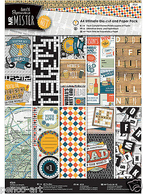 Papermania Ultimate A4 paper toppers tags decoupage 48 pk Mr mister fathers day