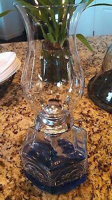 Oil Lamp Glass with Pressed Pattern  in Glass Base. Vintage Style!