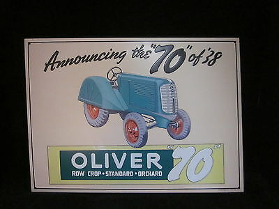 """Oliver Farm Equipment """"70"""" of '38 Sign embossed 1991 AAA Sign Co 16 1/4  11 3/4"""