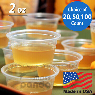 2 oz Large Jello Jelly Shot Souffle Portion Cups with Lids Option, Clear Plastic