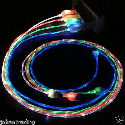 10 x Flowing Glow LED Light-up Data Charger Cable For iPhone 5 5s 6 6 Plus - Lot