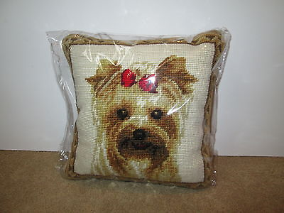 Girl YORKIE Face Yorkshire Terrier Dog Handmade Needlepoint Pillow 10 by 10 NWT