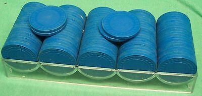 clay poker chips - blue x99 with plastic tray