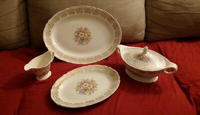 ANTIQUE  EDWIN M KNOWLES CHINA CO. #43-9 floral w/  gold crest pattern