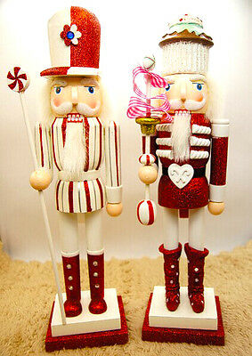 15'' Christmas CandyCake Nutcracker Soldier Vintage Wooden Table Walnut Toy Gift