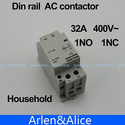 CT1 2P 32A 1NC 1NO 220V/230V 400V~ 50/60HZ Din rail Household ac contactor