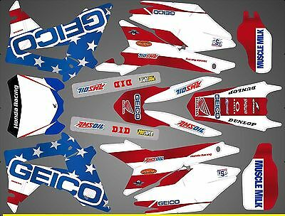 Kit Déco Moto pour / Mx Decal Kit For Honda Crf - Mx Of Nation Us Replica  2014