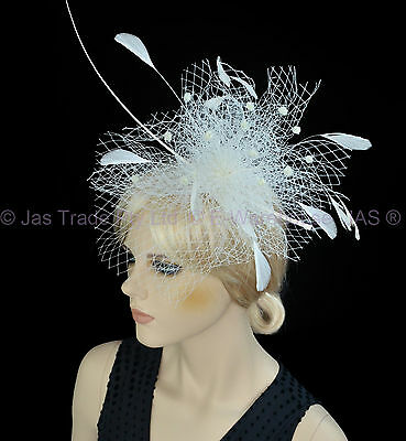 1 Melbourne Cup Spring Racing Carnival Headband Wedding Feather Fascinator White