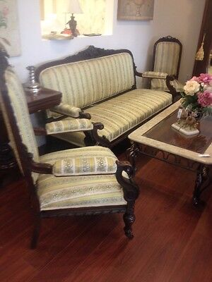 VICTORIAN SOFA COUCH 1 ARM CHAIR 2 CHAIR HEAVY WOOD CARVED REUPHOLSTERED