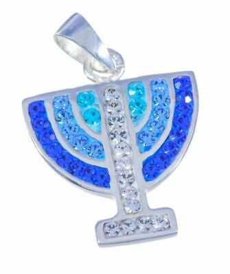 Jerusalem temple Menorah fancy necklace, sterling silver 925 swarovski crystals