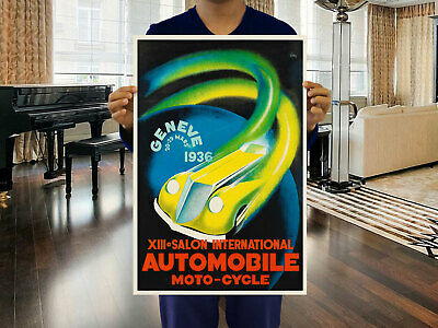 Vintage Art Deco Swiss Poster Geneva Motor Show Switzerland 1930s Car Retro