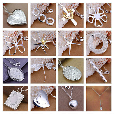 *Uk Store* 925 Silver Plt Pendant Necklaces With 18'' Chain Ladies Gift Womens