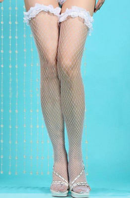 White Lace Stay Up Fishnet Stockings One Size: Regular and Own Brand