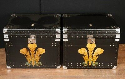 Pair Leather Steamer Trunk Luggage Boxes Side Coffee Tables Prince Wales Plume