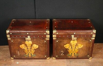 Pair English Steamer Trunk Luggage Cases Side Coffee Tables