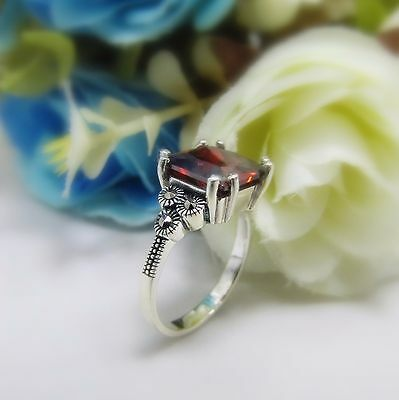 Red Cubic Zirconia Ring 925 Sterling Silver Vintage Antique Costume Jewelry