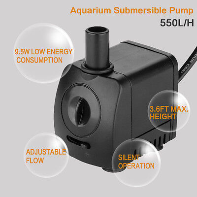 Small Submersible Water Feature Pump for Aquarium Fish Tank Pond Fountain 550L/H