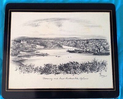 Vtg Placemat Stronoway Inner Harbour Isle Of Lewis Lady Clare Judges Sketch