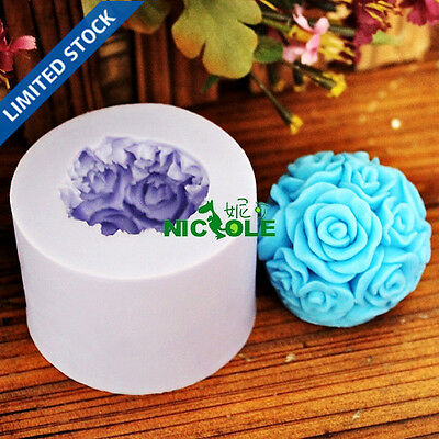 3D Rose Flower Silicone Candle Mold Soap Molds DIY Chocolate Candy Cake Mould