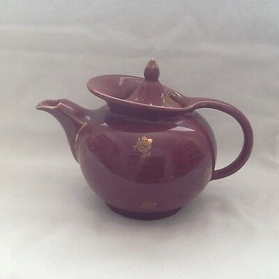 Vintage Hall USA Windshield Teapot & Lid 0689 6 Cup Burgundy Gold Roses Flowers