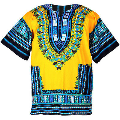 Cotton African Dashiki Mexican Poncho Hippie Fits Most Blouse Yellow ad033y