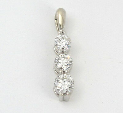 14k White Gold Round Diamond 3-Stone Past Present Future Pendant .90ct