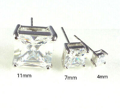 Men Stud Square Earrings Clear Cubic Zirconia 4 7 11mm White Gold