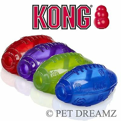 Kong Squeezz Squeaky Dog Puppy Rugby Ball Fetch Bouncy Toy Medium Large