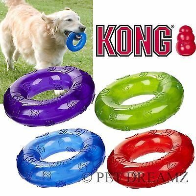 Kong Squeezz Squeaky Dog Puppy Ring Fetch Toss Bouncy Toy Medium Large