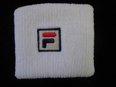 "Fila F Box 3"" Wristband White/Red/Peacoat Single Non Terry-Version Adult Unisex"