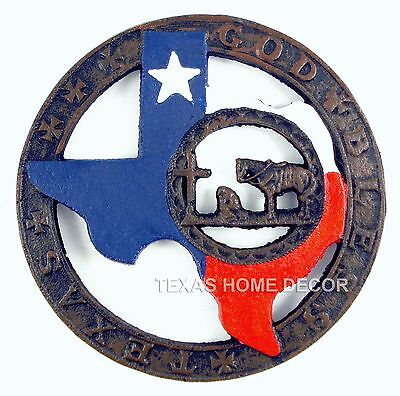 GOD BLESS TEXAS Cast Iron Trivet Cowboy Praying Texas Map Flag Plate Pot Holder