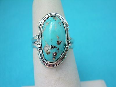 Navajo Native American Easter Blue Turquoise Ring Size 7 Sterling