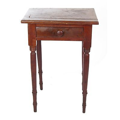 Antique 19th c primitive wooden walnut one drawer stand small work side table