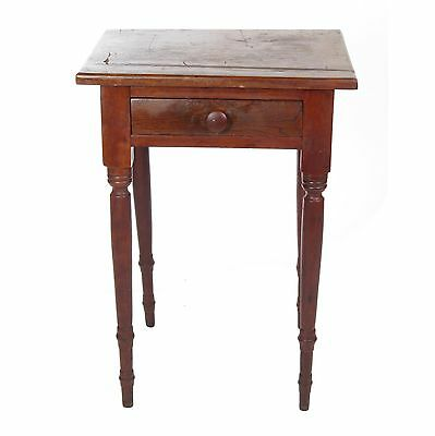 Antique work table 1 drawer stand small side 19th c primitive wooden walnut
