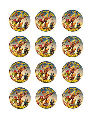 CLASH of CLANS Edible Icing Image CUPCAKE Toppers Personalized FREE SHIPPING