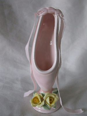 1984 Roman Inc. Pink Ballet Slipper Figurine Pink Bow And Yellow Chipped Flower